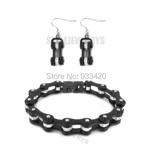 Free shipping! Bling Black Bicycle Chain Motor Earring and Bracelet Stainless Steel Jewelry Trendy Motorcycle Biker Set SJB0154S
