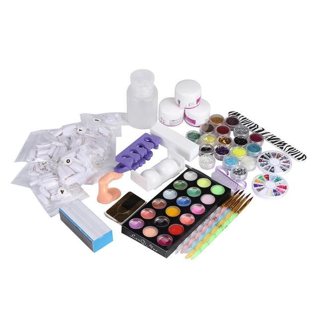 21Acrylic Nail Art Tips Powder Liquid Brush Glitter Clipper Primer File Set Kit Great for strengthen your nails Anne