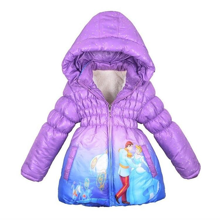 2017 Children Coat Cinderella Baby Girls winter Coats full sleeve Clothes girl's warm Baby jacket Winter Outerwear Thick Hooded new children coat minnie baby girls winter coats full sleeve coat girl s warm baby jacket winter outerwear thick girl clothing