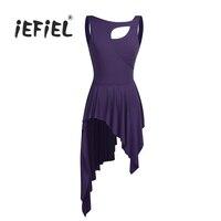 IEFiEL Women Adult Sleeveless New Cut Out High Low Leotard Dance Dress Professional Ballet Dancing Dress