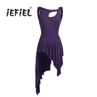 IEFiEL Women Adult Sleeveless New Cut Out High Low Leotard Dance Dress Professional Ballet Dancing Dress