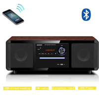 Bluetooth Music CD Player Remote Control Hifi Speakers FM Radio Portable 2.0 Home Theater Sound System with Microphone Input