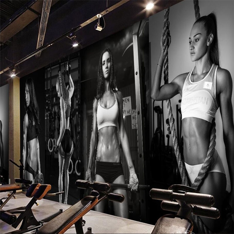 Beibehang Gym <font><b>sexy</b></font> beauty black and white <font><b>photo</b></font> wall background wall custom large <font><b>mural</b></font> green <font><b>wallpaper</b></font> papel de parede image