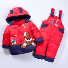 Cartoon Baby Suit Boy Girl Winter Warm Jacket Suit Thick Coat + Siamese Pants Baby Suit Children's Jacket Can Open The Crotch