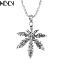 MINCN Stainless steel  mens necklace men pendant leaves wolf six star skull hip hop Punk