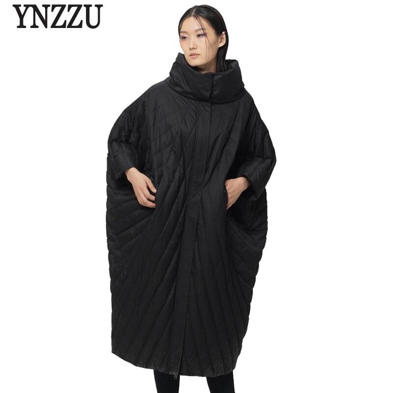 YNZZU European Style New Winter Duck Down Jacket Women Loose Cocoon Stand Collar Warm Chic Coat Plus Size AO353