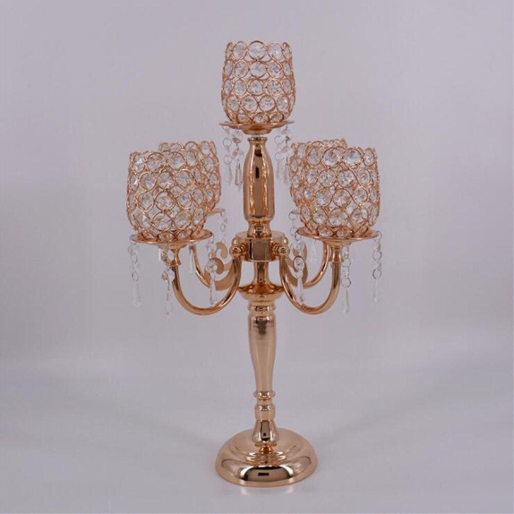 Новые творческие 54 см высокий металлический Позолоченные подсвечник с кристаллами свадебный стол Канделябры/Центральным украшения подсве