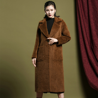 MASSRY 2019 New Women Alpaca Coat Female Single Button Outwear Overcoat Long High Quality Thick Winter Warm Lapel Wool Coats