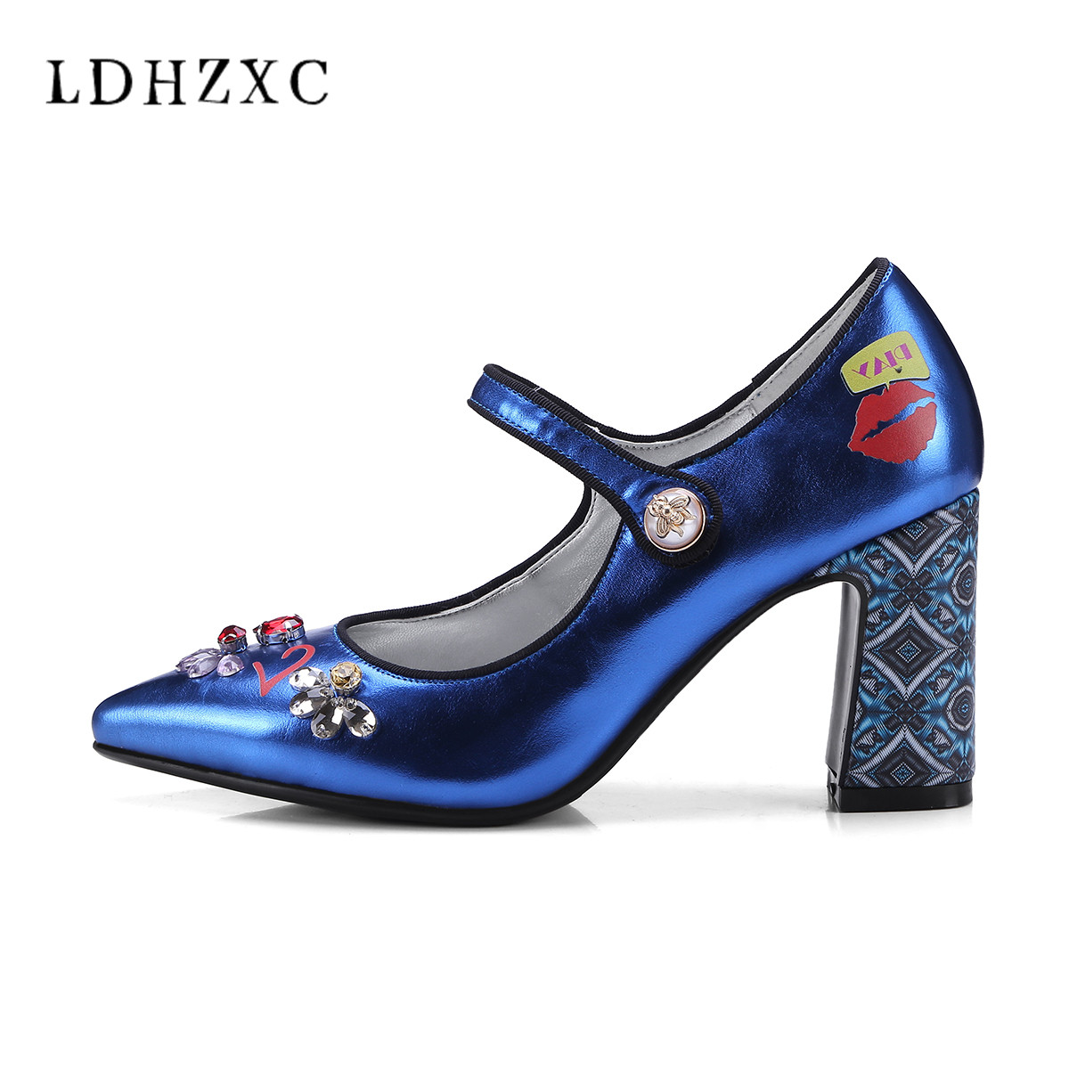 LDHZXC Women Mary Janes Pumps Sexy Pointed Toe Gladiator High Heels Shoes Woman Blue Genuine Leather Stilettos Shoes Woman Pumps mary janes shoes woman genuine leather strange style women heels pumps pointed toe shoes string bead spring autumn women shoes
