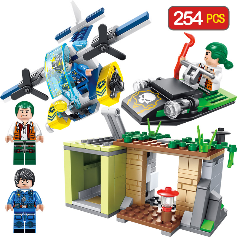 City Police Seties Pursuit At Sea Blocks Compatible LegoINGLY Diy Bricks Enlightening Fun Toys For Children