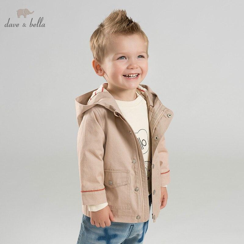 DBA9527 dave bella spring baby boys fashion hooded coat children tops infant toddler boutique coat