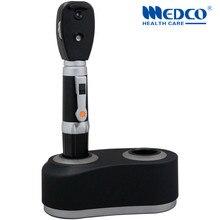 Германия Качество светодиодный перезаряжаемый прямой офтальмоскоп медицинский офтальмоскопио диагностический комплект для глазного осмотра