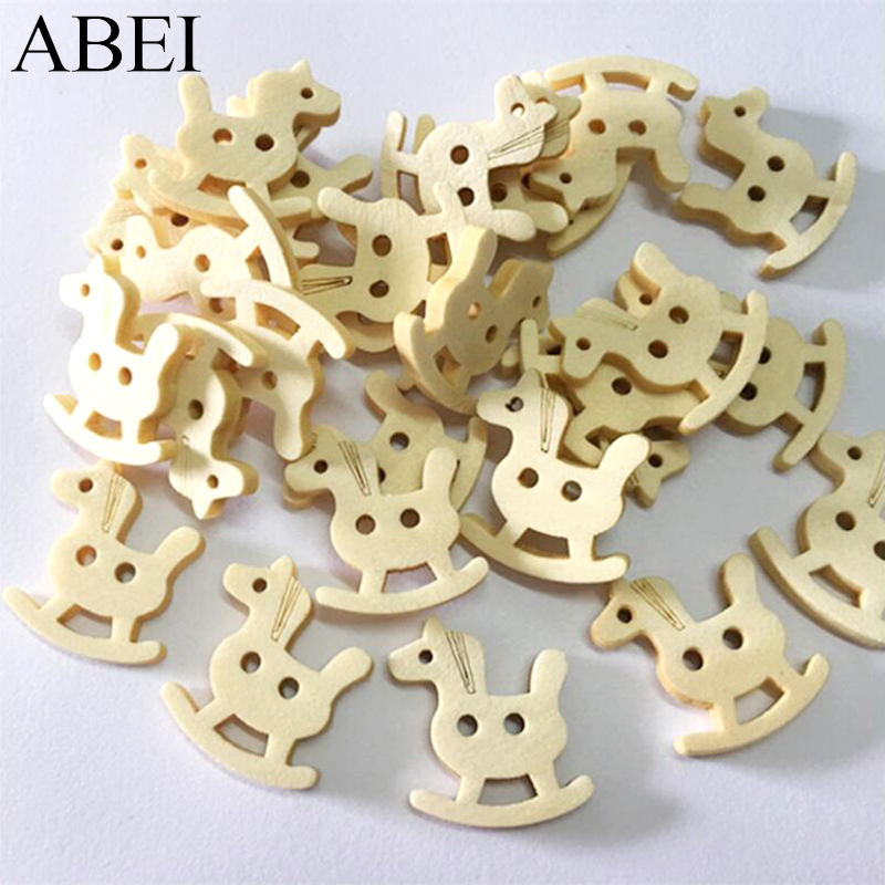 100pcs/lot Cartoon Little horse Wood Buttons Baby Clothes Decorative Natural Wooded Button Wedding Crafts Scrapbook DIY Ornament
