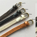 Classic Vintage Retro Clothing Wax Rope Knitted Belts PU Bronze Alloy Pin Buckle Fashion Hand Woven Ladies Belt for Women