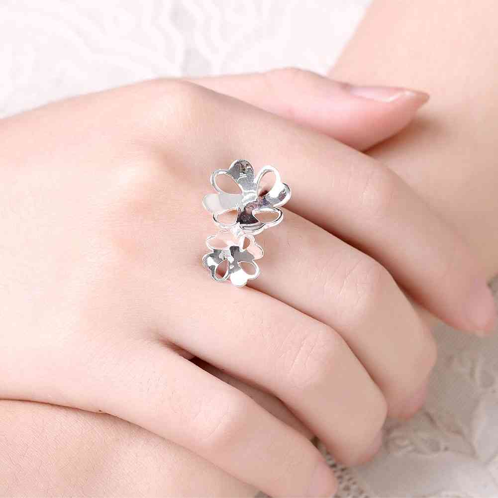 ⓪NEW!! silver wedding ring Flower size anillos Costume Jewellery ...