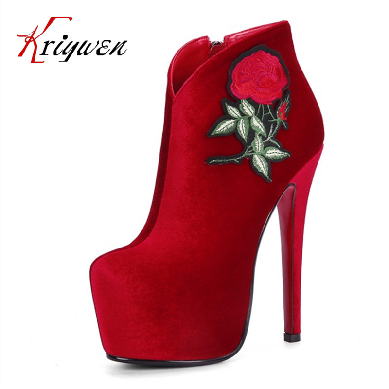 Big size 33-43 Autumn winter Fashion woman shoes ethnic femmes thn High Heels shoes flock red black women Ankle Boots for party women ankle boots high heels 2016 fashion shoes woman platform flock zipper winter boots ladies shoes female botas plus size 43