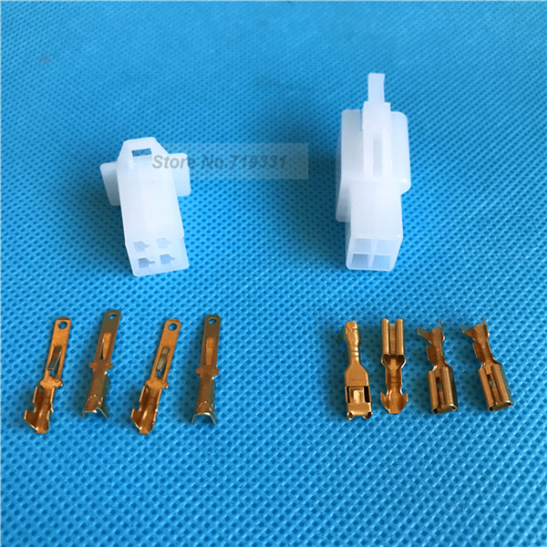 20sets 2.8mm 4 Way/pin automotive motorcycle electrical connectors Kits Male Female wire terminal socket plug for Motorbike Car купить