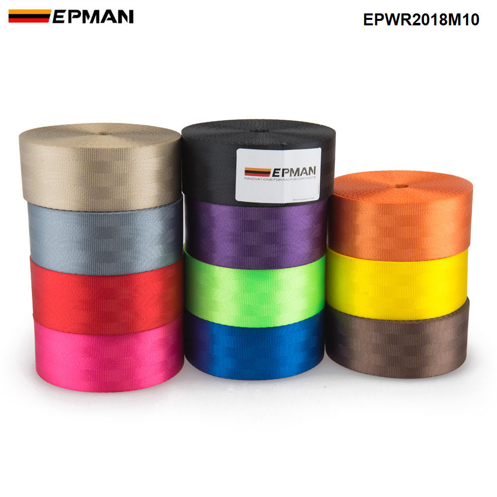 EPMAN L:10M Racing Seat Belt 4.8CM*10M Car Webbing Fabric Harness Safety Strap Webbing Accessories EPWR2018M10