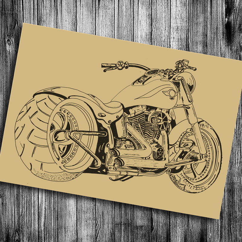 Vintage Retro Kraft Poster about Old Motorcycle Photo retro painting House decor pub cafe Bar living room bedroom wall Stickers