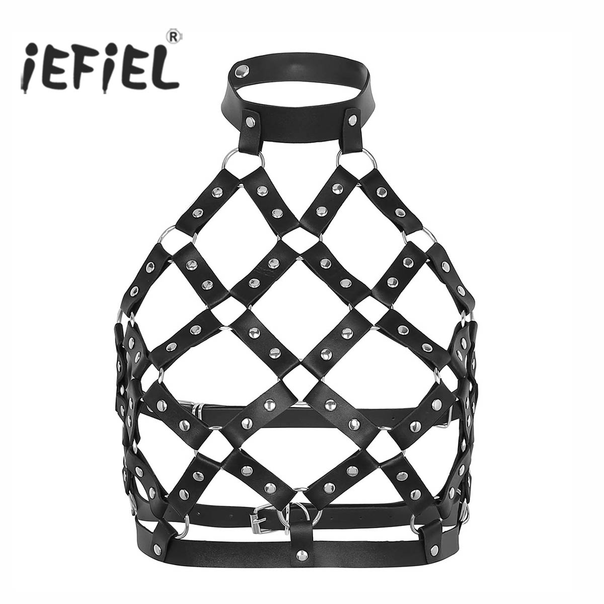 Women Costumes Accessories Belts for Evening Clubwear Faux Leather Studs Half Body Cage Bondage Harness Belt for Cosplay Party