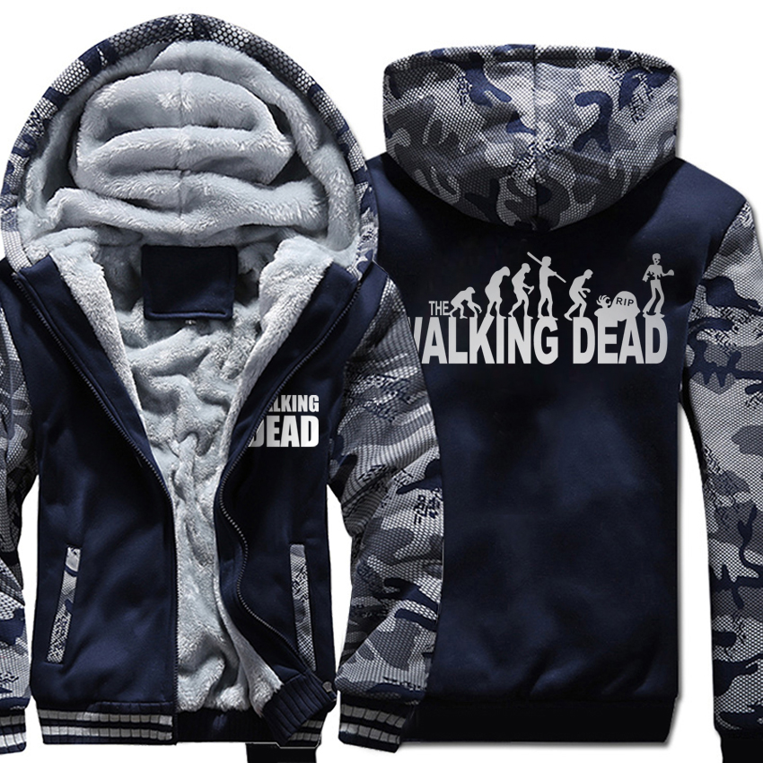 men wool liner Thicken Zipper Jacket wings coat 2019 Camouflage color Hoodies the walking dead Hooded male Hands Scary tracksuit