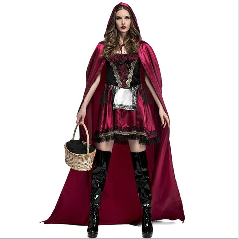 Halloween Party Deluxe Little Red Riding Hood Costume Adult Women Storybook Carnival Cosplay Fantasia Fancy Dress