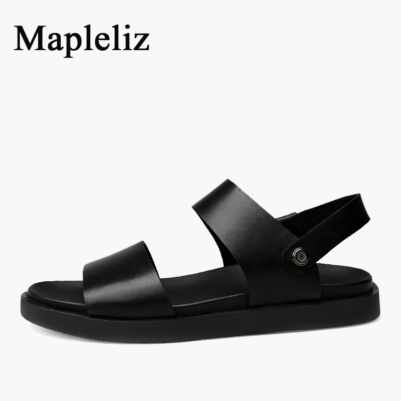 Mapleliz Brand Leisure Slip-On Solid Low Summer Men Sandals Cow Leather High Quality Sewing Flat Beach Slippers Shoes For Men new 2015 spring brand camel fashion leisure men low flat wear resisting high quality leather high end shoes with box