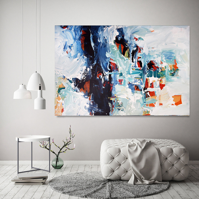 Grey And White Textured Large Abstract Painting On Canvas Extra Wall Art