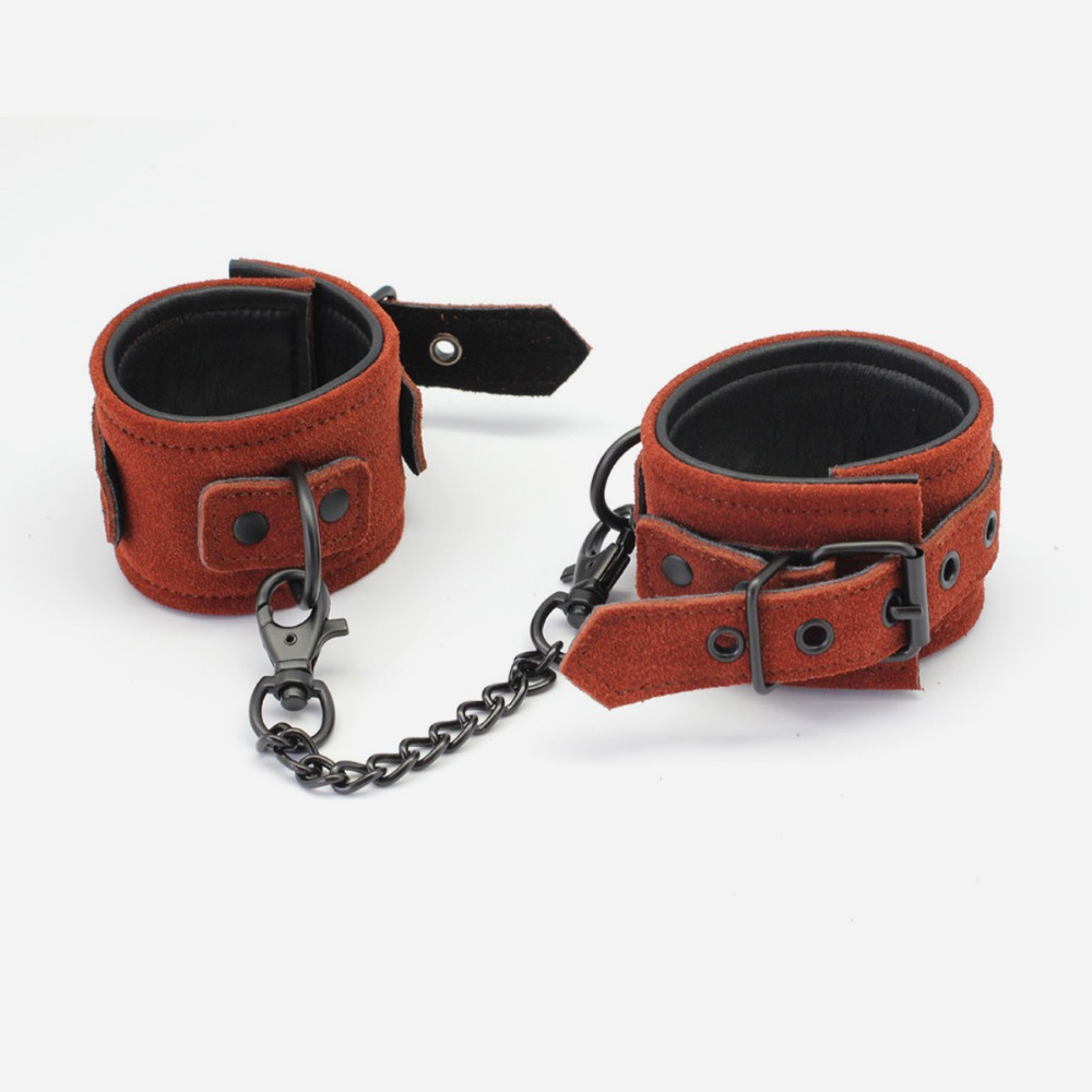 deluxe Leather sex restraint wrist cuffs, Brown Suede leather hand cuffs, adult sex restraints products for couples, sex toys new arrival luxury top leather ankle cuffs brown suede feet cuffs sex restraint products adult sex toys