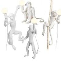Современный Креативный дизайн смолы обезьяна Лофт Винтаж пеньковая веревка подвесной светильник для домашнего освещения Кафе Ретро лампа