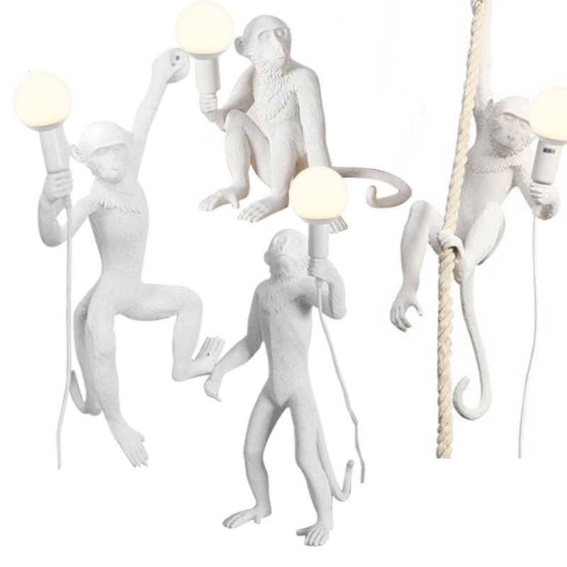 Modern creative design Resin Monkey Loft Vintage Hemp Rope Pendant Light for Home Lighting Bar Cafe Retro Hanging Pendant lamp nordic retro loft led pendant light vintage hemp rope lamp industrial glass iron hanging home fixtures for bar restaurant cafe