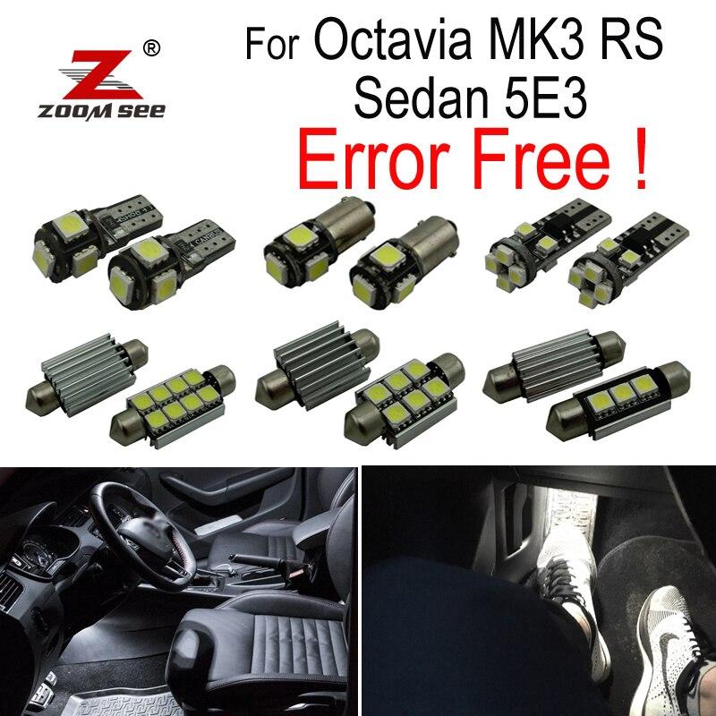14pcs LED footwell lamp LED Interior dome glove box Lights bulb Kit for Skoda Octavia 3 MK3 saloon MKIII 5E3 sedan RS (2013+)