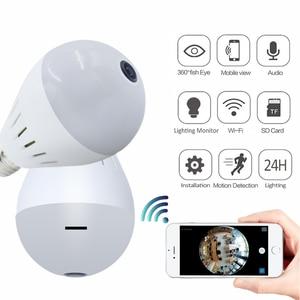 Image 1 - 1080 P 360 Panoramik IP Kamera Wifi Ev Güvenlik Kablosuz CCTV Gözetim Balıkgözü Ağ IP kamera Ampul Lamba Kamera Iki Yönlü audi