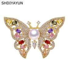 SHDIYAYUN Pearl Brooch For Women Zircon Colour Butterfly Pearl Brooches Pins Natural Freshwater Pearl Fine Jewelry Accessories цена в Москве и Питере