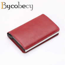 BYCOBECY RFID Aluminium Alloy Credit Card Holder PU Leather Wallet Automatic Pop Up Case for Men Women