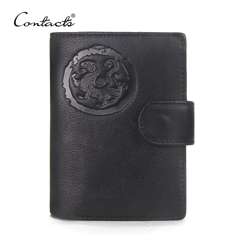 CONTACT'S Cowhide Genuine Leather Men Wallets Business Purse With Card Holder Vintage Clutch Wrist Bag Passport Wallets 2017 HOT 2017 new cowhide genuine leather men wallets fashion purse with card holder hight quality vintage short wallet clutch wrist bag