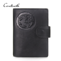 CONTACT S Cowhide Genuine Leather Men Wallets Business Purse With Card Holder Vintage Clutch Wrist Bag