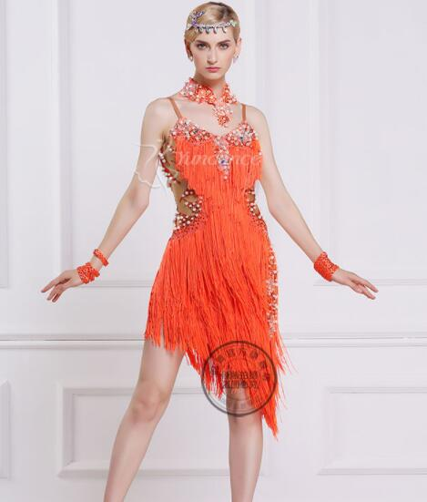 orange tassel fringe customize custom back cutout Rumba cha cha salsa tango  Latin dance competition dress with beads-in Latin from Novelty   Special  Use on ... 9eeeacd032a7