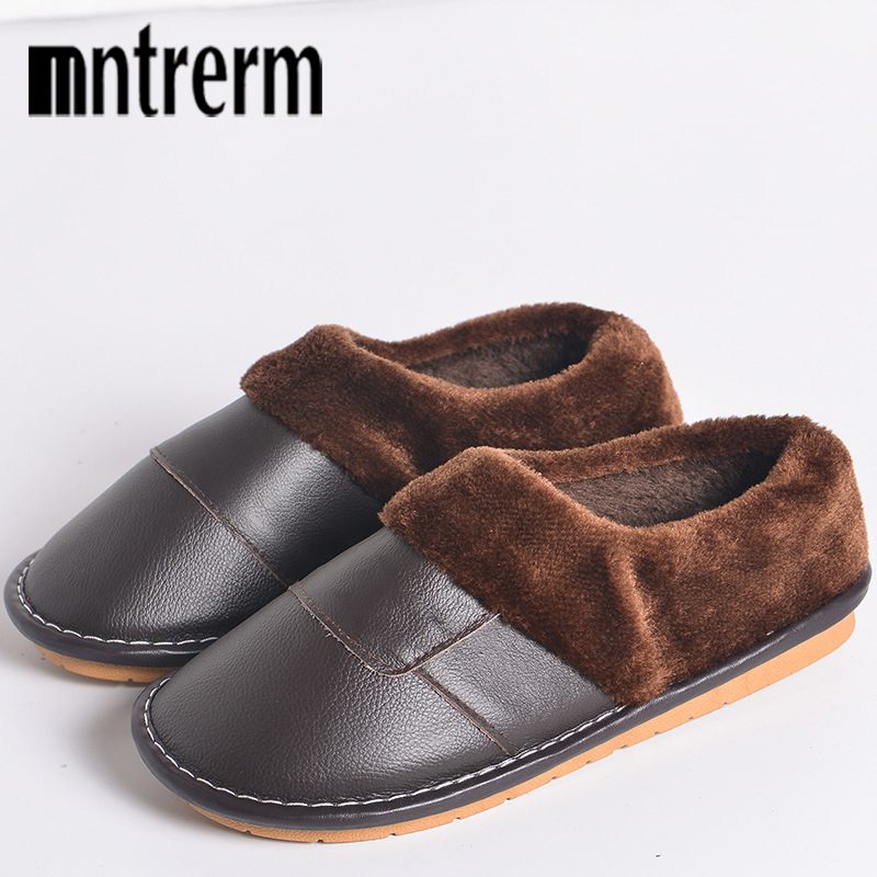 Mntrerm New Home Slippers Men Winter Genuine Leather Shoes Lovers Warm Slippers Flats Shoes Non-slip Big Size Men Plush Slippers