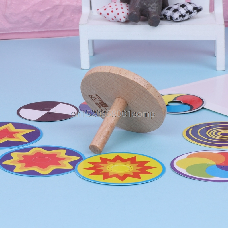 Funny Gyro Toy Wood Spinning Top With 8 Drawing Cards Classic Toy Kids Toy Drop shipping