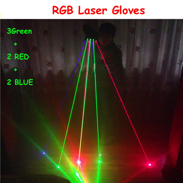 RGB laser glove for Stage Show Party with 7pcs lasers (2pcs Red +3pcs Green +2pcs Blue) 2pcs blue