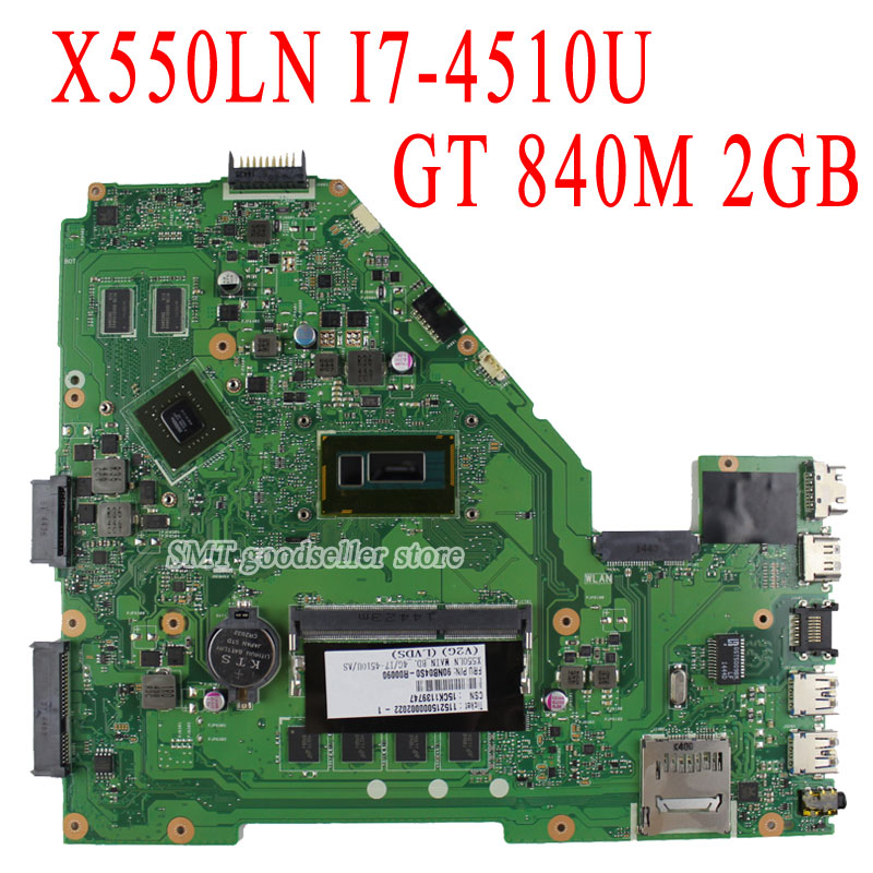 Original X550LN motherboard For Asus X550LD REV2.0 mainboard Processor I7-4500 CPU GT840 2g Fully tested
