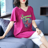 Fat Large Size Women's Wear 2019 New Summer T shirt Beautiful Woman's Pure Cotton V collar Short sleeved Shirt Loose Cover Belly
