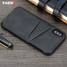 IMIDO Luxury PU Leather Phone Case For iPhone XS MAX Slim Wallet Card Back Cover X XR 8 7 6 6S Plus Coque Capa