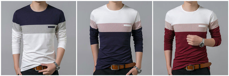 COODRONY T-Shirt Men 19 Spring Autumn New Long Sleeve O-Neck T Shirt Men Brand Clothing Fashion Patchwork Cotton Tee Tops 7622 2