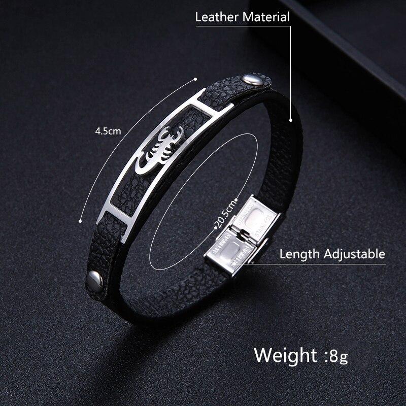 2018 fashion Scorpio Pattern Stainless Steel Bracelet Charm Genuine Leather Men Bracelets & Bangles for women pulseira masculina