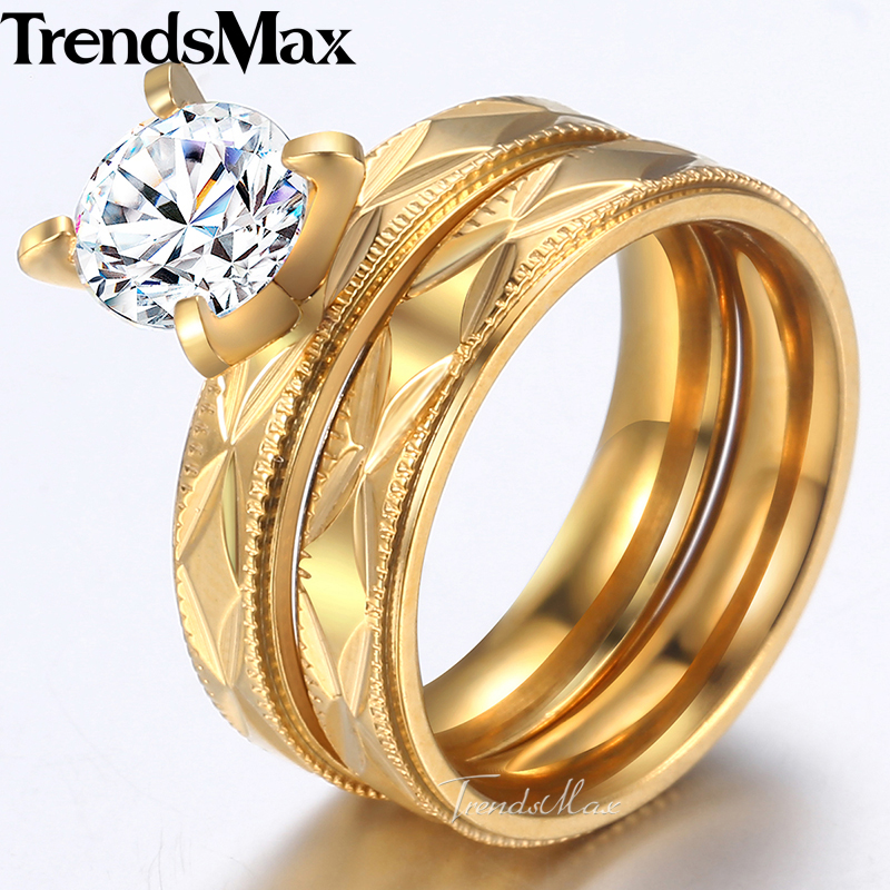 b3157cd61c Trendsmax Mens Womens Wedding Ring Set Couple Promise Faceted Band CZ Stone  Gold Tone Stainless Steel Engagement Rings KKR139-in Engagement Rings from  ...