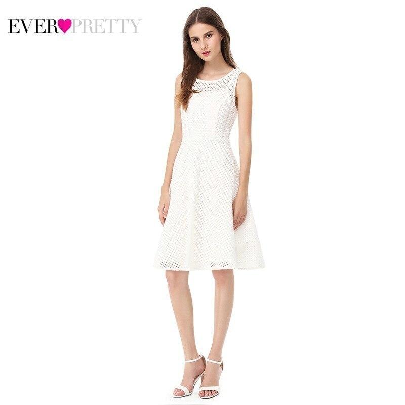 Pure White   Bridesmaid     Dresses   Ever Pretty A-Line O-Neck Sleeveless Hollow Out Women   Dresses   For Wedding Party Vestido Madrinha