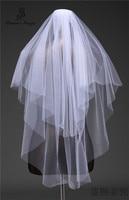 real photo wedding veil two layer  Simple Bridal Veil + Comb elegant ivory white bridal veil custom veil