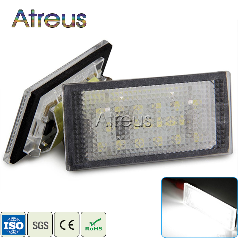 Atreus Car LED License Plate Lights For BMW E46 2D E46 M3 98-03 Accessories 2X White SMD3528 LED Number Plate Lamp Bulb Kit 12V car led license plate lights 12v for ford mondeo mk2 fiesta fusion accessories no error white smd led number plate lamp bulb kit